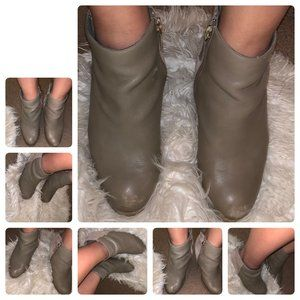 Grey Suede and Leather Wedges